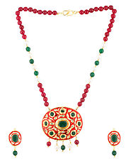 Glamorous Necklace Set With Oval Motif & Green Stones | Buy Designer & Fashion Necklace Sets Online
