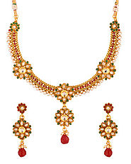 Gold Toned Floral Design Pearl Beads Embedded Necklace Set | Buy Designer & Fashion Necklace Sets Online