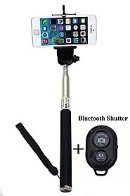 Selfie Stick Monopod -BLACK Extendable Selfie Handheld Stick Monopod + Adjustable Phone Holder Mount + Bluetooth Wire...
