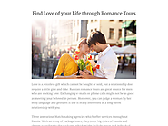 Find Love of your Life through Romance Tours