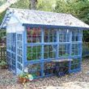 "Blue ""greenhouse"" made from old windows"