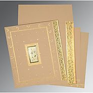 Golden Hindu Wedding Invitation Cards | W-1369 | 123WeddingCards