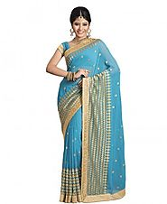 Sati Firozi Blue Coloured Chiffon Saree - Saree