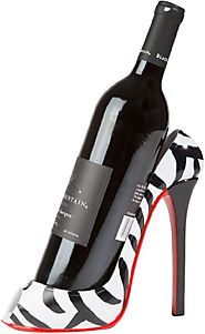 Zebra Print High Heel Wine Bottle Holder