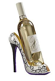 High Heel Shoe Wine Bottle Holder Stylish Black Design Holds One 750ml Wine Bottle