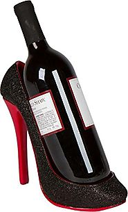 "8.5"" x 7""H High Heel Wine Bottle Holder - Stylish Conversation Starter Wine Rack By Trademark Innovations (Black)"