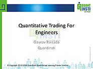 Quant insti webinar on algorithmic trading for technocrats