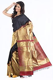 Kanjeevaram Silk Tassar with Black - Sarees