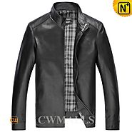 CWMALLS Mens Leather Bomber Jacket CW850406