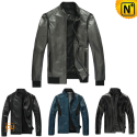 Slim Fitted Leather Jacket uk CW138450 - cwmalls.com