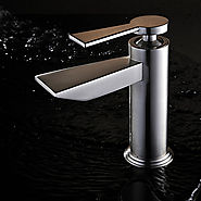 Contemporary Brass Nickel Brushed Bathroom Sink Faucets At FaucetsDeal.com