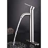 Morden Centerest Nickel Brushed Finish Solid Brass Bathroom Sink Faucet At FaucetsDeal.com