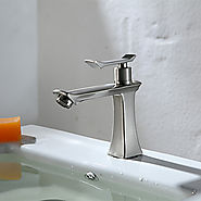 HPB Contemporary Brass Brushed Chrome Bathroom Sink Faucets At FaucetsDeal.com