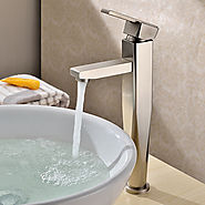 Contemporary Countertop Brass Nickel Brushed Bathroom Sink Faucet At FaucetsDeal.com