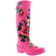 Womens Flower Print Floral Winter Snow Rain Waterproof Wellington Boots