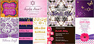 Pink Purple Bat Mitzvah Invitations at Lemon Leaf Prints