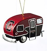 Metal South Carolina Gamecocks Camper Christmas Ornament