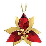 Swarovski Poinsettia Gold Tone Christmas Ornament