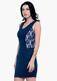 Lace Sides Bodycon Dress - Blue