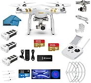 DJI Phantom 3 Professional (Pro) 4K Video Camera EVERYTHING YOU NEED Kit + 2 DJI Extra Batteries + Prop Guards + 2 Sa...