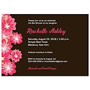 Hibiscus Flower Tropical Bat Mitzvah Invitation
