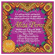 Tropical Fiesta of Colors Bat Mitzvah Invitation