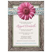 Bat Mitzvah Invitations - Rustic Chic Pink Gerbera Daisy Turquoise Wood