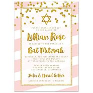 Bat Mitzvah Invitations - Pink Stripes & Gold Confetti