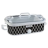 NEW Crock-Pot� Casserole Crock Slow Cooker, Black & White Pattern SCCPCCM350-BW