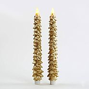 "Set of 2 Gold Wax 11"" Christmas Tree Flameless Battery Operated LED Taper Candles"