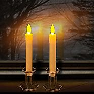 "Set of 2 9"" Tall LED Flickering Flameless Taper Candles, Ivory- Table Candles Window Candle Lights, Battery Operated ..."