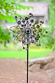 Wind & Weather Gold And Silver Dots Metal Wind Spinner