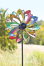 Solar LED Flower Wind Spinner in Multicolor
