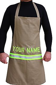 Firefighter Cooking Apron, Tan with Yellow Reflective Stripe