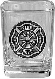 Fireman Square Shot Glasses with Raised Emblem - Fire Department Firefighter Maltese Cross Symbol