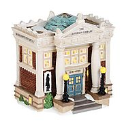 Department 56 New England Village The Jefferson Library Lit House, 6.5-Inch