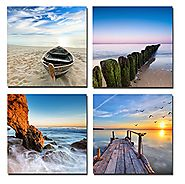 Wieco Art - Seaview Modern Seascape Giclee Canvas Prints 4pc/Set