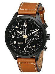 Timex Men's T2N700 Intelligent Quartz SL Series Fly-Back Chronograph Brown Leather Strap Watch