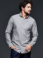 Clean chambray shirt - Slate Grey