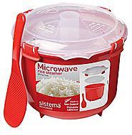 Sistema 10.9 Cup Rice Steamer Bowl, Red