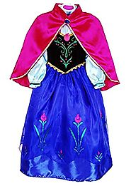 JerrisApparel Snow Queen Elsa Party Dress Costume Princess Cosplay Dress Up (4-5, Anna)
