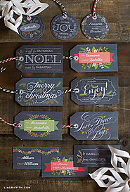Printable Chalkboard Christmas Gift Tags and Gift Labels by Lia Griffith