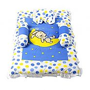 Bunny print Baby Bed Set - Blue :: Baby Bedding and Pillows Classic Bed Sets by Morisons Baby Dreams