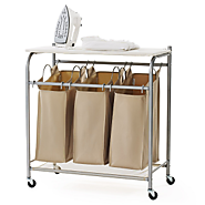 3 Bag Laundry Cart Sorter With Foldable Ironing Board • Seasons Charm