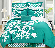 King size Turquoise 7-Piece Floral Bed in a Bag Comforter Set