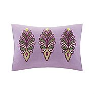 Echo Vineyard Paisley Oblong Pillow, 12 by 20-Inch, Purple