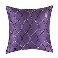 "Euphoria Contempo Decorative Throw Pillow Cushion Covers Pillowcase Shell Faux Silk Light Purple Waves Embroidery 18""..."