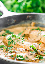 Chicken in White Wine Sauce with Mushrooms