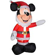 Disney Airblown Inflatable Mickey Mouse as Santa with a Beard - 5ft Tall