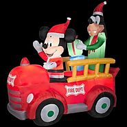 6' Tall Disney Christmas Mickey Mouse & Goofy Fire Dept Truck Airblown Inflatable By Gemmy Outdoor Scene